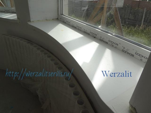 Радиуснный подоконник Werzalit цвет полярно-белый серия Expona