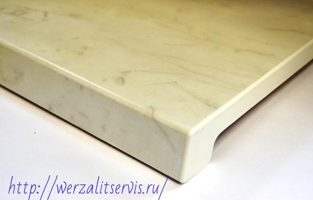 подоконники Верзалит цвет белый мрамор №070